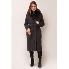 Пальто темно-серое с мехом